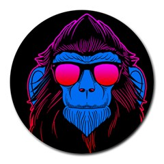 One Cool Gorilla 8  Mouse Pad (Round)