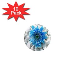 Blue 1  Mini Button Magnet (10 Pack)
