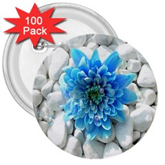 Blue 3  Button (100 pack)