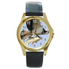 972365 574168389308603 1915470104 N Round Metal Watch (Gold Rim)