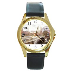 581163 10151851386387103 949252325 N Round Metal Watch (Gold Rim)