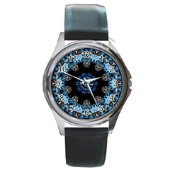 Smoke art 2 Round Metal Watch (Silver Rim)