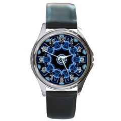 Abstract smoke  (3) Round Metal Watch (Silver Rim)