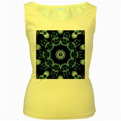 Abstract smoke  (3) Womens  Tank Top (Yellow)