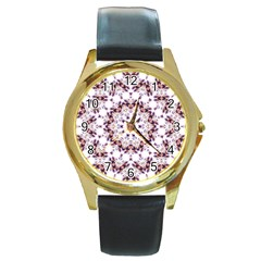 Abstract Smoke  (4) Round Metal Watch (Gold Rim)