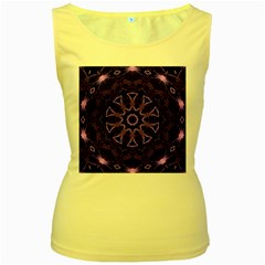 Smoke Art (7) Womens  Tank Top (Yellow)