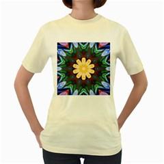 Smoke art  (9)  Womens  T-shirt (Yellow)