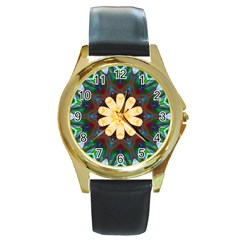 Smoke art  (9) Round Metal Watch (Gold Rim)
