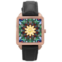 Smoke Art  (9) Rose Gold Leather Watch