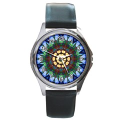 Smoke Art  (10) Round Metal Watch (silver Rim)