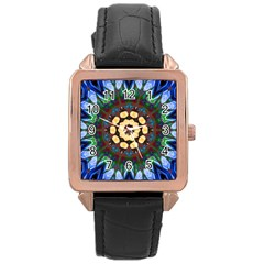 Smoke art  (10) Rose Gold Leather Watch