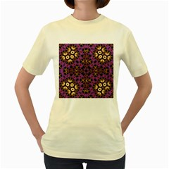 Smoke Art  (11)  Womens  T Shirt (yellow)