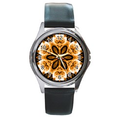 Smoke art (12) Round Metal Watch (Silver Rim)