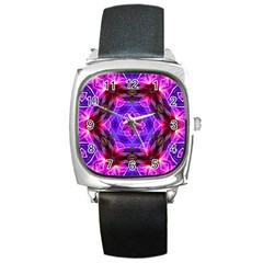 Smoke art (19) Square Leather Watch
