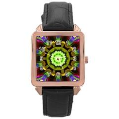Smoke art (23) Rose Gold Leather Watch