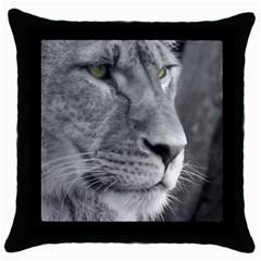 Lion 1 Black Throw Pillow Case