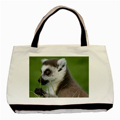 Ring Tailed Lemur  2 Twin Sided Black Tote Bag
