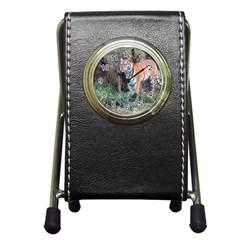 Tiger Stationery Holder Clock