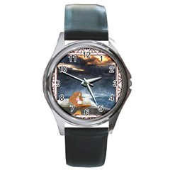 Stormy Twilight Ii [framed]  Round Metal Watch (Silver Rim)