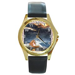 Stormy Twilight Ii [framed]  Round Metal Watch (gold Rim)