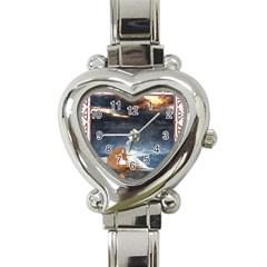Stormy Twilight Ii [framed]  Heart Italian Charm Watch