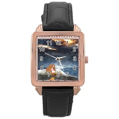 Stormy Twilight Ii [framed]  Rose Gold Leather Watch