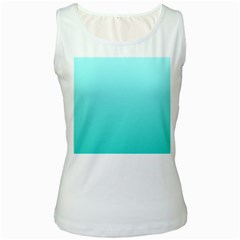 Celeste To Turquoise Gradient Womens  Tank Top (White)
