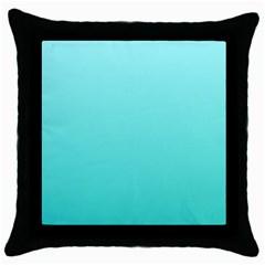 Celeste To Turquoise Gradient Black Throw Pillow Case