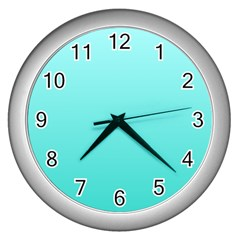 Celeste To Turquoise Gradient Wall Clock (Silver)