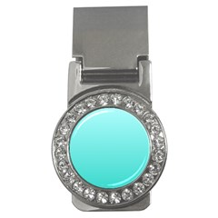 Celeste To Turquoise Gradient Money Clip (CZ)