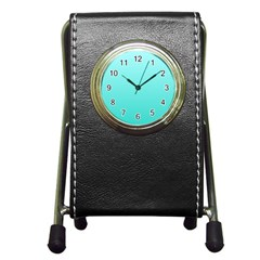 Celeste To Turquoise Gradient Stationery Holder Clock