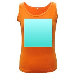 Celeste To Turquoise Gradient Womens  Tank Top (Dark Colored)