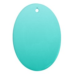 Celeste To Turquoise Gradient Oval Ornament (Two Sides)