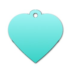 Celeste To Turquoise Gradient Dog Tag Heart (one Sided)