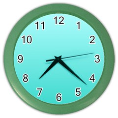 Celeste To Turquoise Gradient Wall Clock (Color)