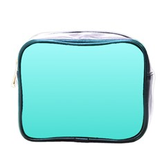 Celeste To Turquoise Gradient Mini Travel Toiletry Bag (one Side)
