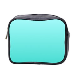 Celeste To Turquoise Gradient Mini Travel Toiletry Bag (two Sides)