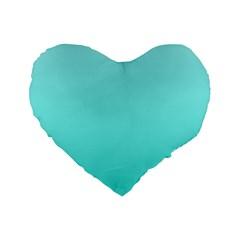 Celeste To Turquoise Gradient 16  Premium Heart Shape Cushion