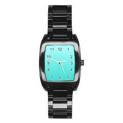 Celeste To Turquoise Gradient Men s Stainless Steel Barrel Analog Watch