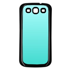 Celeste To Turquoise Gradient Samsung Galaxy S3 Back Case (Black)