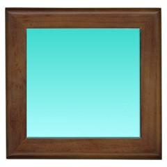 Turquoise To Celeste Gradient Framed Ceramic Tile