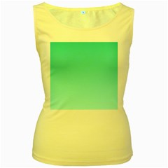 Turquoise To Celeste Gradient Womens  Tank Top (Yellow)