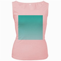 Turquoise To Celeste Gradient Womens  Tank Top (pink)