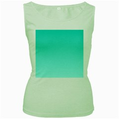 Turquoise To Celeste Gradient Womens  Tank Top (Green)