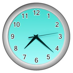 Turquoise To Celeste Gradient Wall Clock (Silver)