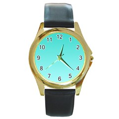 Turquoise To Celeste Gradient Round Metal Watch (Gold Rim)
