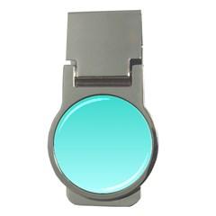 Turquoise To Celeste Gradient Money Clip (Round)