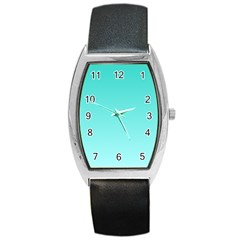 Turquoise To Celeste Gradient Tonneau Leather Watch