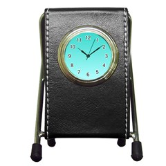 Turquoise To Celeste Gradient Stationery Holder Clock