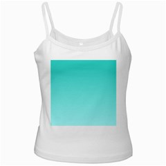 Turquoise To Celeste Gradient White Spaghetti Top